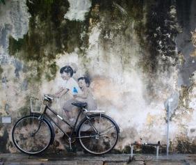 """Penang Street Art, """"Little Children on a Bicycle"""" Mural, Armenian Street"""
