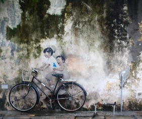 "Penang Street Art, ""Little Children on a Bicycle"" Mural, Armenian Street"