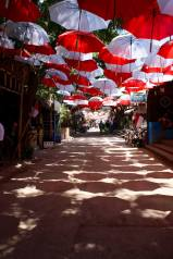 A street of umbrellas